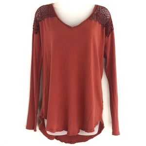 Free People Hobo Mesh Burnt Red Long Sleeve Shirt